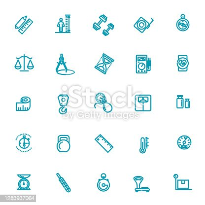 Measuring related web icon set
