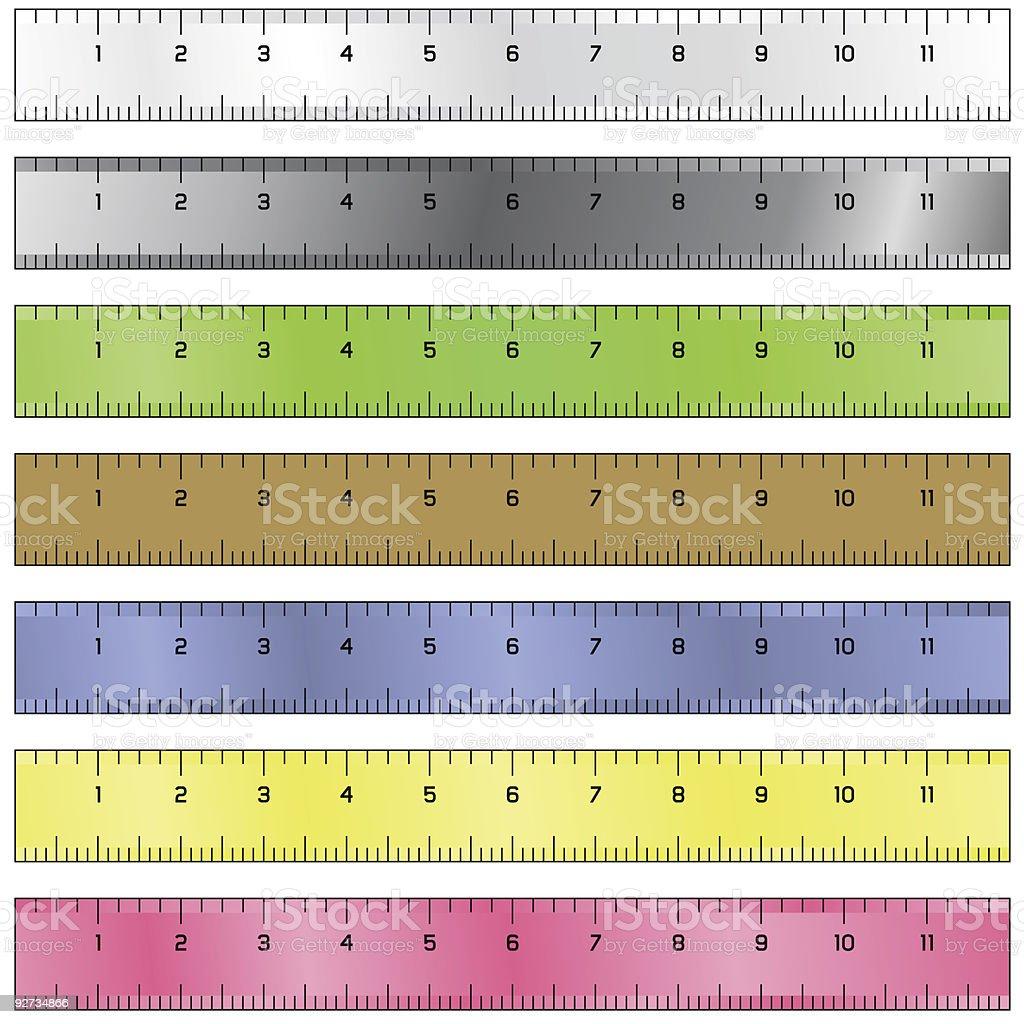 Measuring rulers vector art illustration