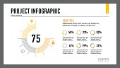 Percentage chart slide template. Business data. Graph, diagram. Creative concept for infographic, templates, presentation, report. Can be used for topics like analysis, statistics, finance