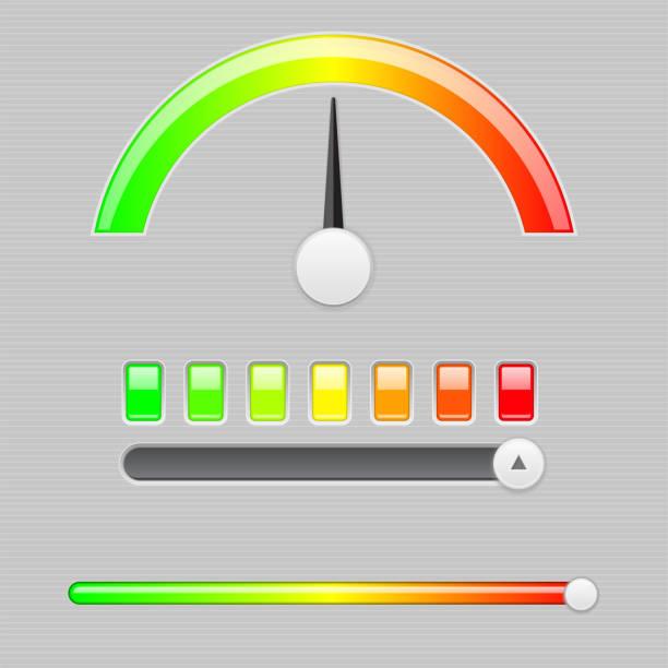 ilustrações, clipart, desenhos animados e ícones de escala de medição semi. indicador industrial com controle deslizante - deslize