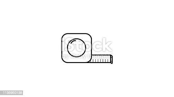 Measuring tape icon line art