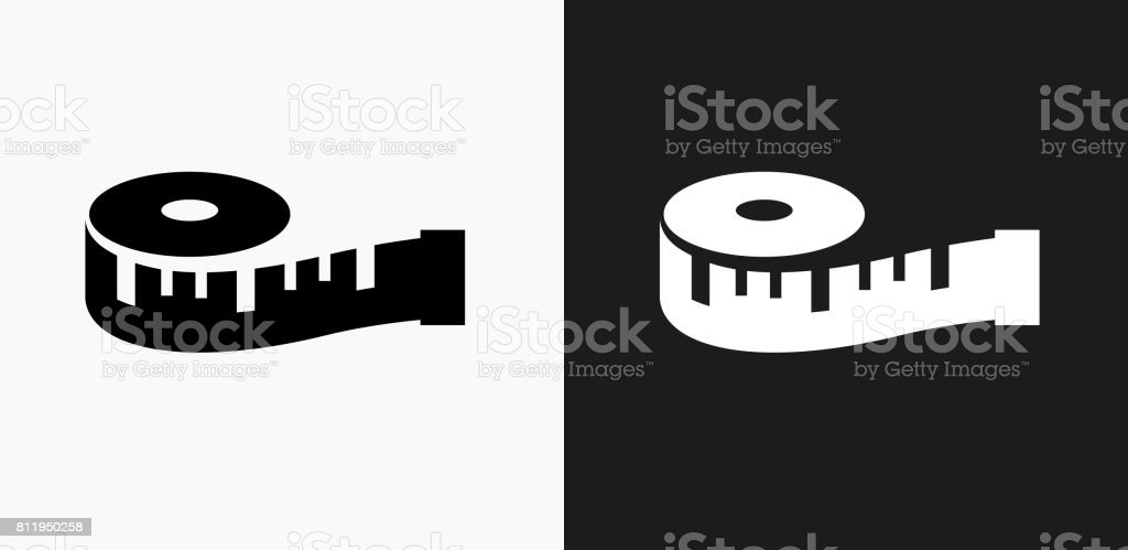 Measuring Tape Icon on Black and White Vector Backgrounds vector art illustration