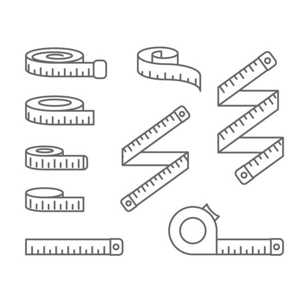Measuring tape icons - reel, tape measure and bobbin, diet and lose weight concept Measuring tape icons - reel, tape measure and bobbin, diet and lose weight concept meter instrument of measurement stock illustrations