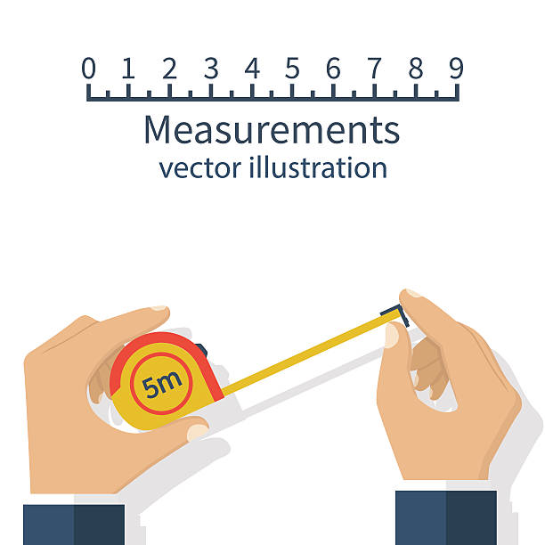 Measuring tape in hand Measuring tape in the hands of the person making the measurements. Vector illustration flat design isolated on white background. instrument of measurement stock illustrations