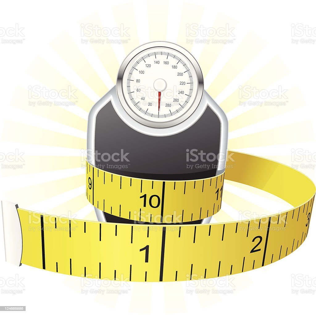 Measuring tape wrapping a scale vector art illustration