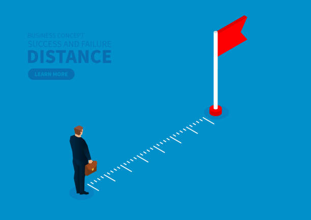 Measuring the distance of the merchant from the destination flag Measuring the distance of the merchant from the destination flag distant stock illustrations