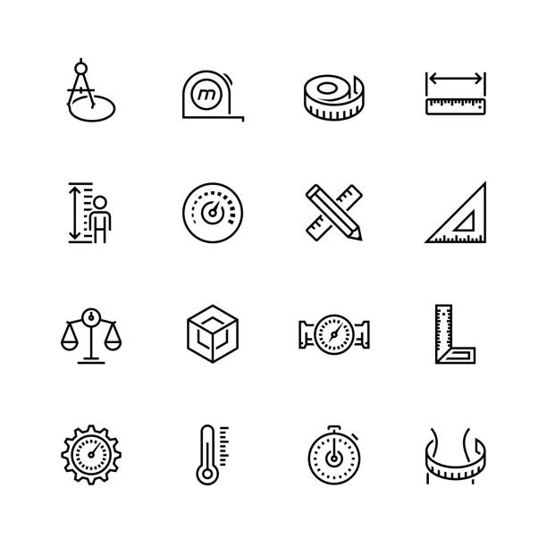Measuring tools and measures vector icon set in thin line style Measuring tools and measures vector icon set in thin line style instrument of measurement stock illustrations