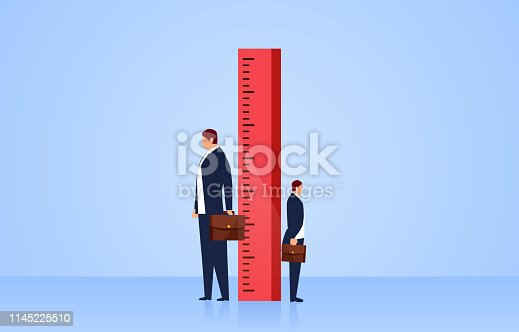 Measuring, two businessmen stand sideways on both sides of the ruler