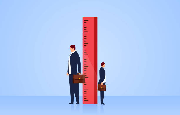 Measuring, two businessmen stand sideways on both sides of the ruler Measuring, two businessmen stand sideways on both sides of the ruler instrument of measurement stock illustrations