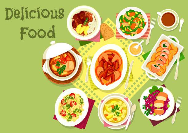 fleisch und fisch gerichte mit nudeln und gemüse-symbol - sauerkraut stock-grafiken, -clipart, -cartoons und -symbole