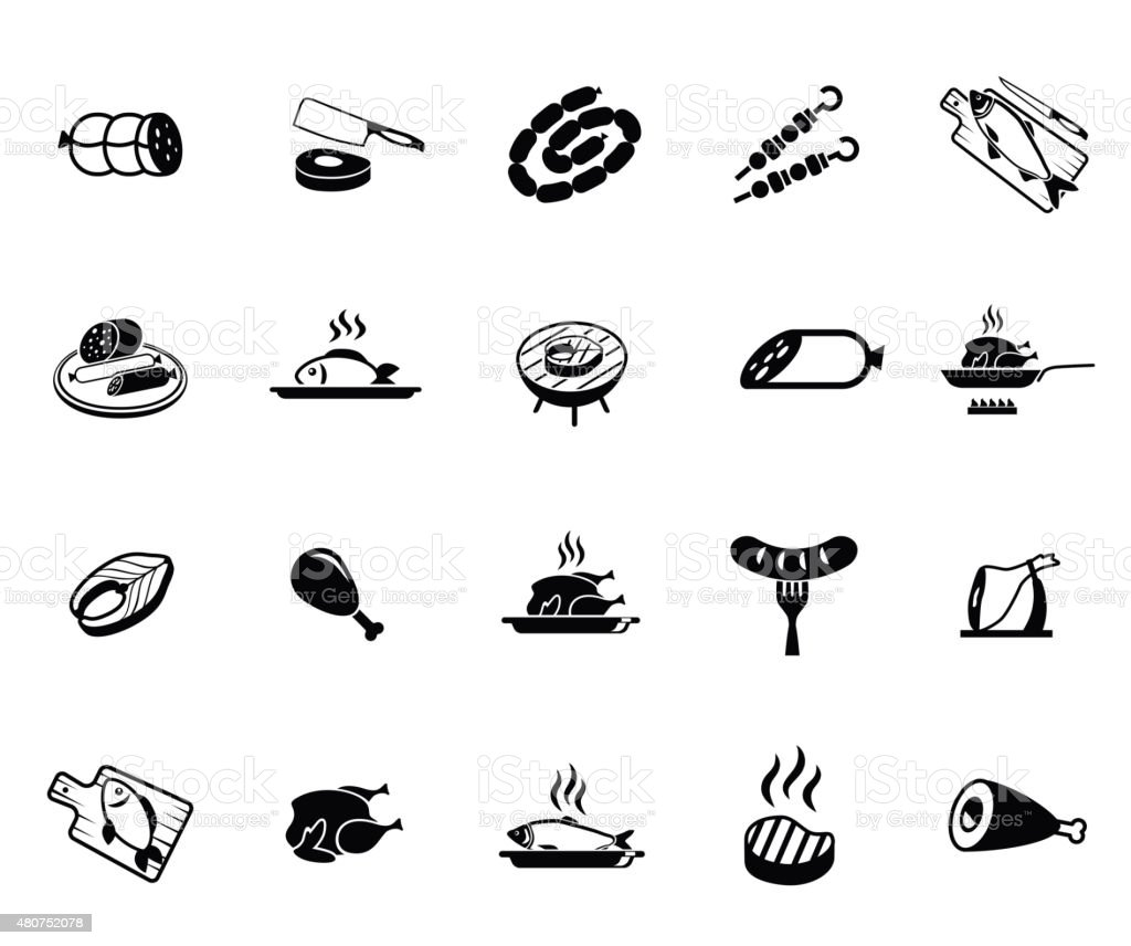Meat and fish icons vector art illustration