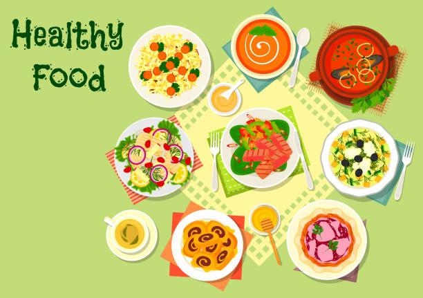 fleisch und fisch salate mit tomaten-suppen-symbol - feigensalat stock-grafiken, -clipart, -cartoons und -symbole