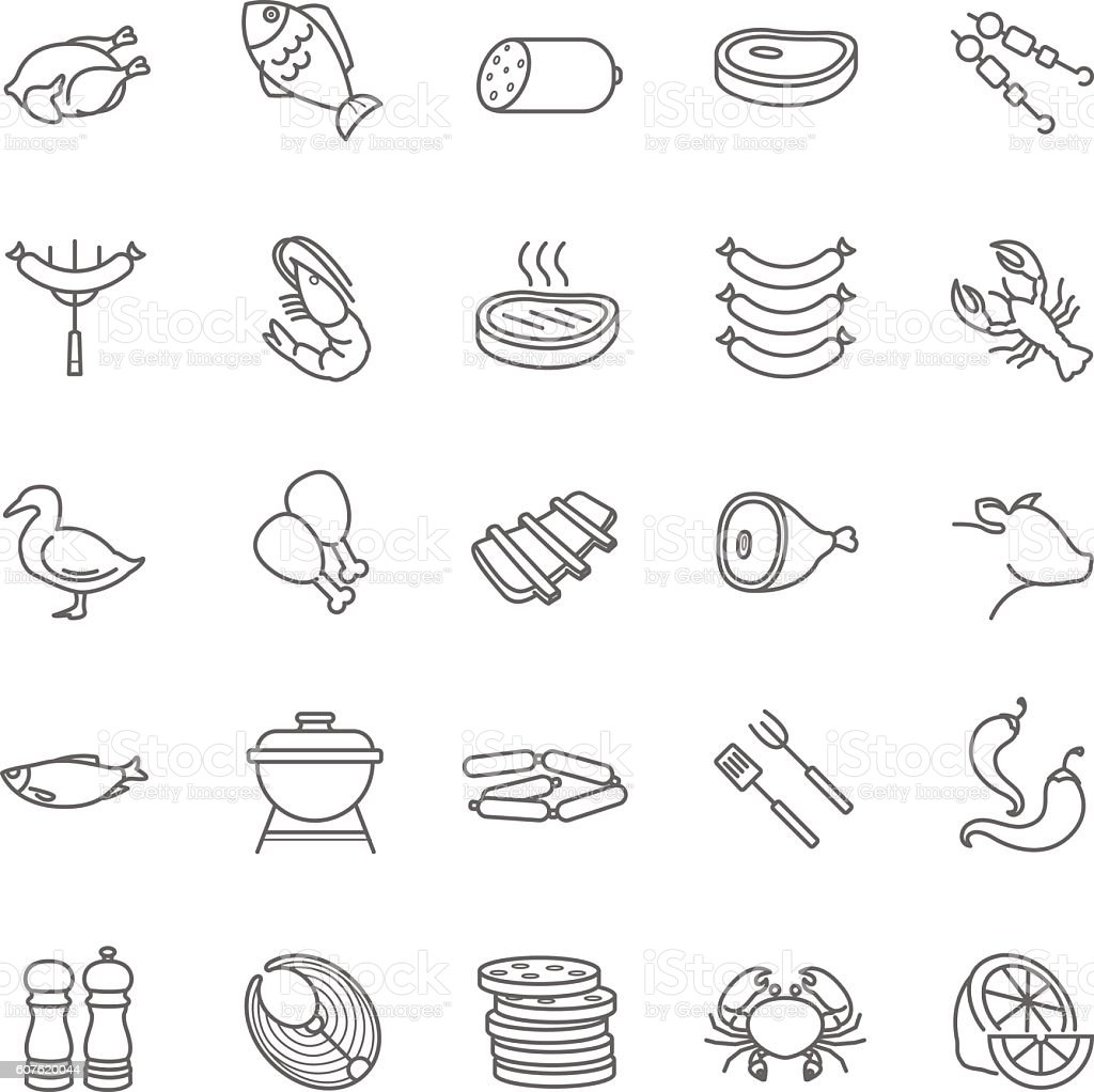 meat and fish vector icons vector art illustration