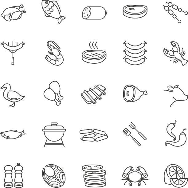meat and fish vector icons - 魚の骨点のイラスト素材/クリップアート素材/マンガ素材/アイコン素材