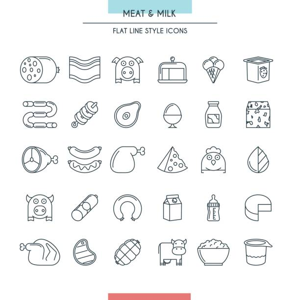 meat and milk thin line icons set - delis stock illustrations