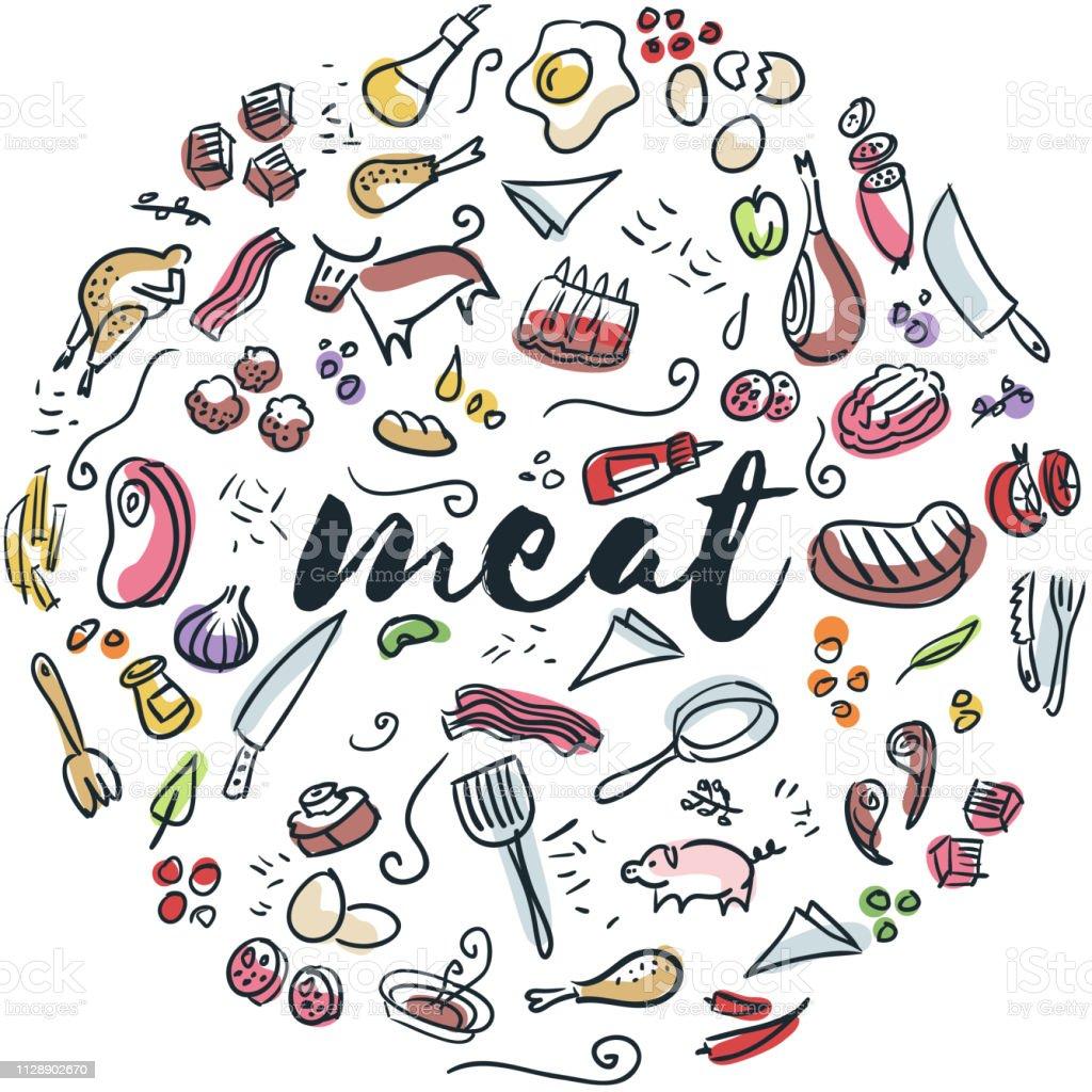 Fleisch und Geflügel hand gezeichnete design – Vektorgrafik