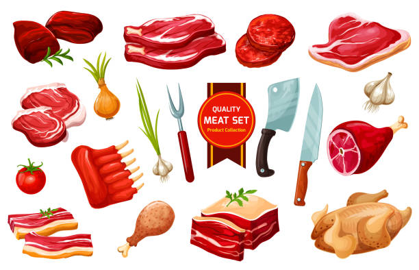Meat and poultry with cutlery, vegetables vector art illustration