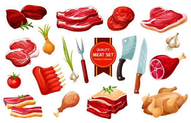 bildbanksillustrationer, clip art samt tecknat material och ikoner med kött och fågel med bestick, grönsaker - fjäderfä