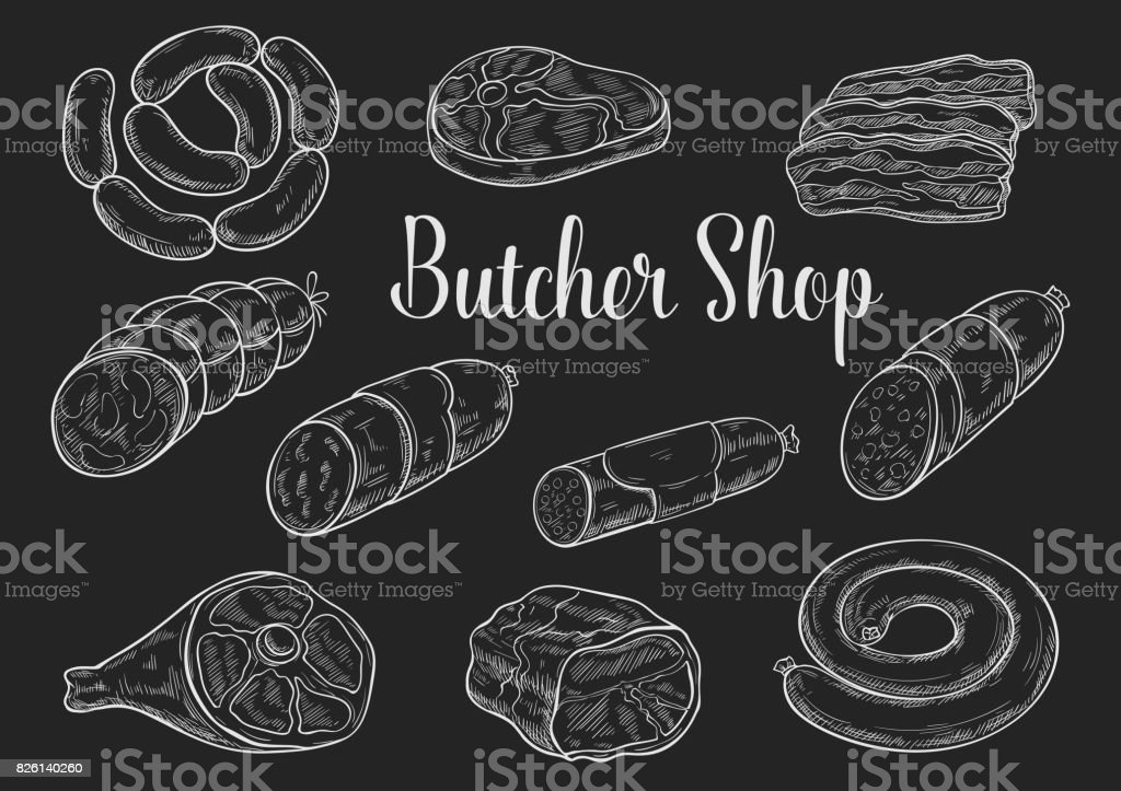 Meat and sausage chalk sketches on blackboard vector art illustration