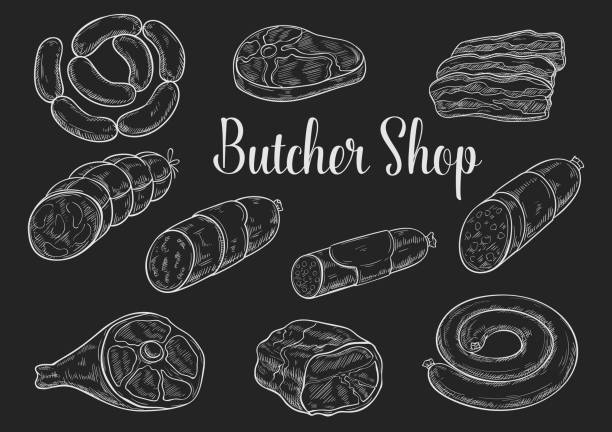 meat and sausage chalk sketches on blackboard - delis stock illustrations