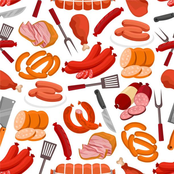 fleisch- und wurstwaren vektor nahtlose muster - roastbeef stock-grafiken, -clipart, -cartoons und -symbole