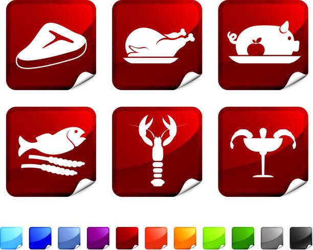 fleisch und meeresfrüchte lizenzfreie vektor icon-set - schweinebraten stock-grafiken, -clipart, -cartoons und -symbole