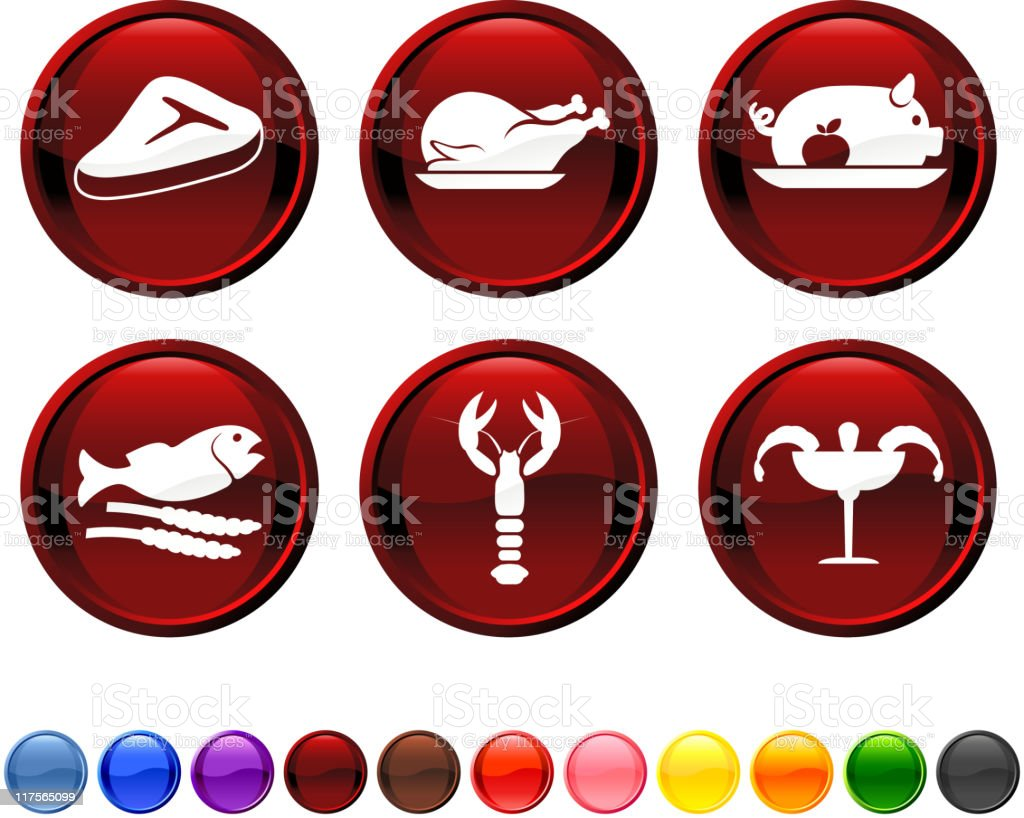 Meat and sea food royalty free vector icon set royalty-free stock vector art