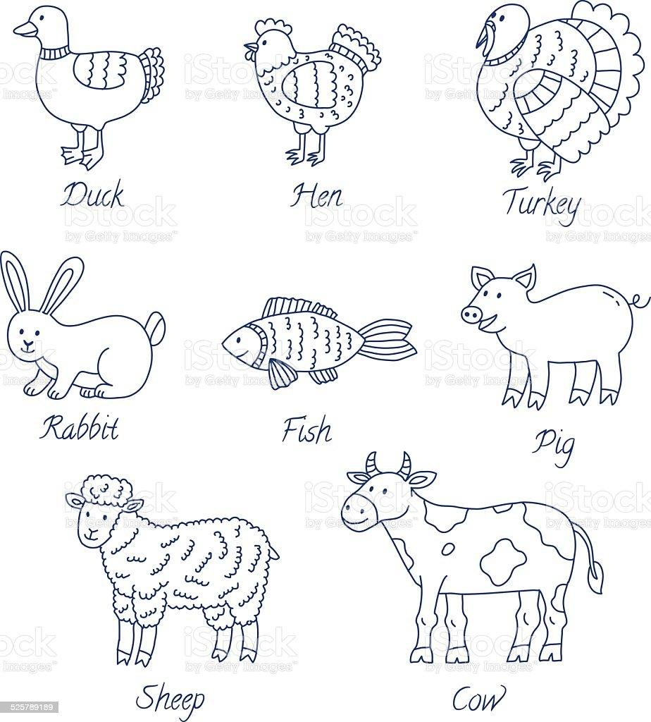 Meat animals cartoon set vector art illustration