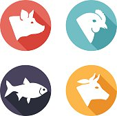 Meat animals icons. Flat style