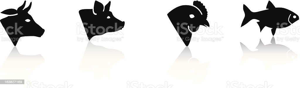 meat animals vector art illustration