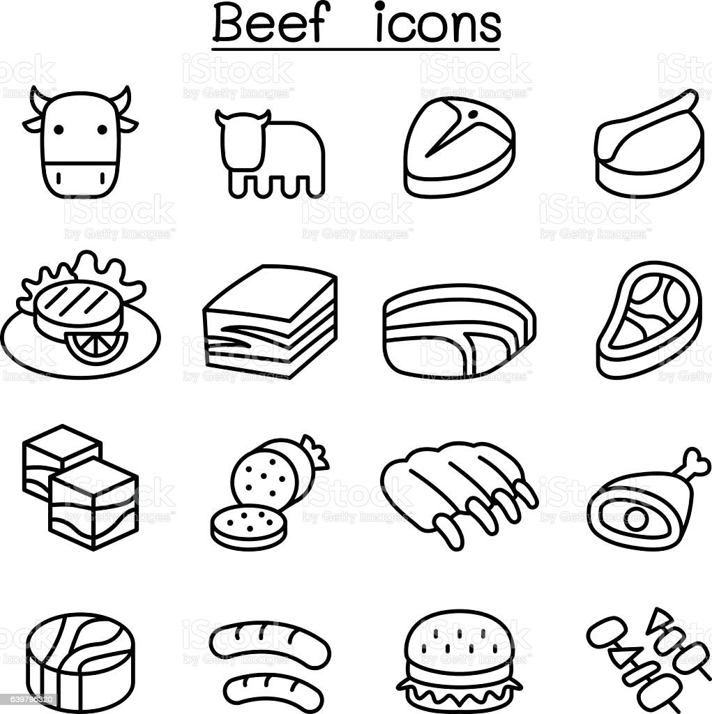 Meat , Beef icon set vector art illustration
