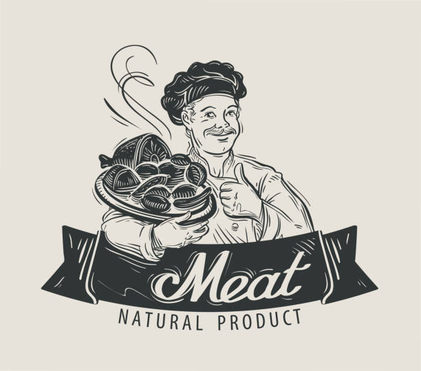 fleisch, rindfleisch, würstchen, vektor-logo-design-vorlage. bbq barbecue, speisen - schweinebraten stock-grafiken, -clipart, -cartoons und -symbole