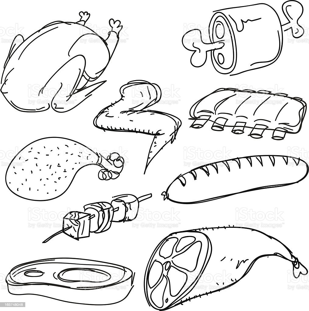 Meat collection vector art illustration
