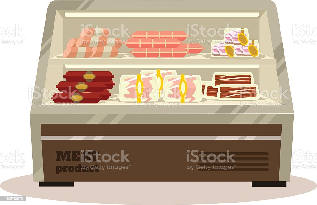 Comptoir de la viande. Vector illustration plat - Illustration vectorielle