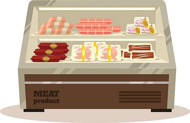 ilustrações, clipart, desenhos animados e ícones de carne balcão. vetor ilustração plana - delicatessen