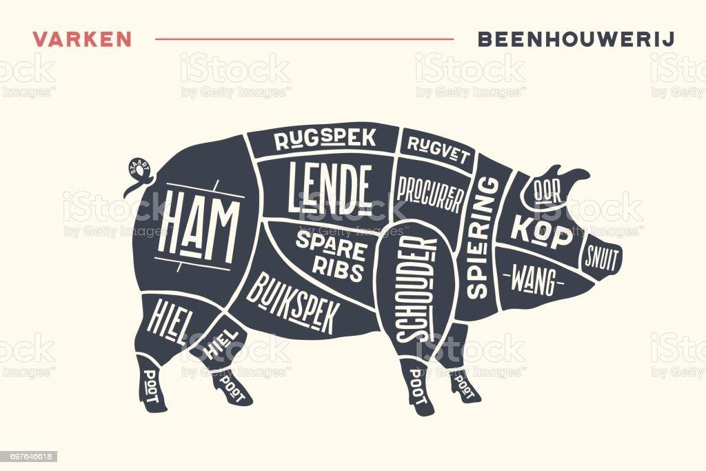Meat cuts. Poster Butcher diagram and scheme - Pork vector art illustration