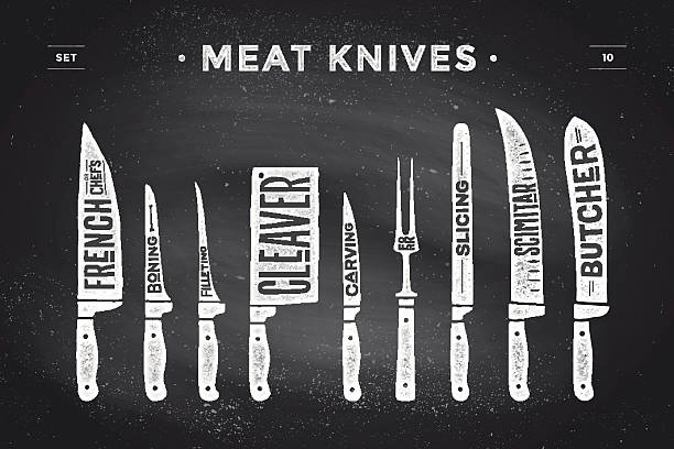 Meat cutting knives set. Poster Butcher diagram and scheme Meat cutting knives set. Poster Butcher diagram and scheme - Meat Knife. Set of butcher meat knives for butcher shop and design butcher themes. Vintage typographic hand-drawn. Vector illustration cooking silhouettes stock illustrations