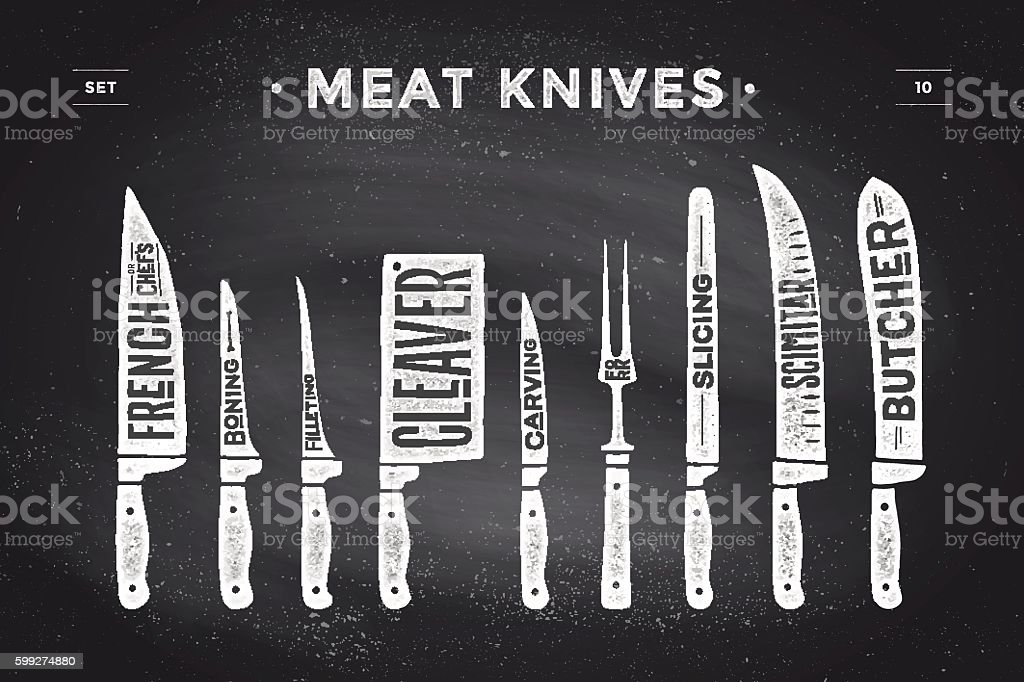 Meat cutting knives set. Poster Butcher diagram and scheme - ilustración de arte vectorial
