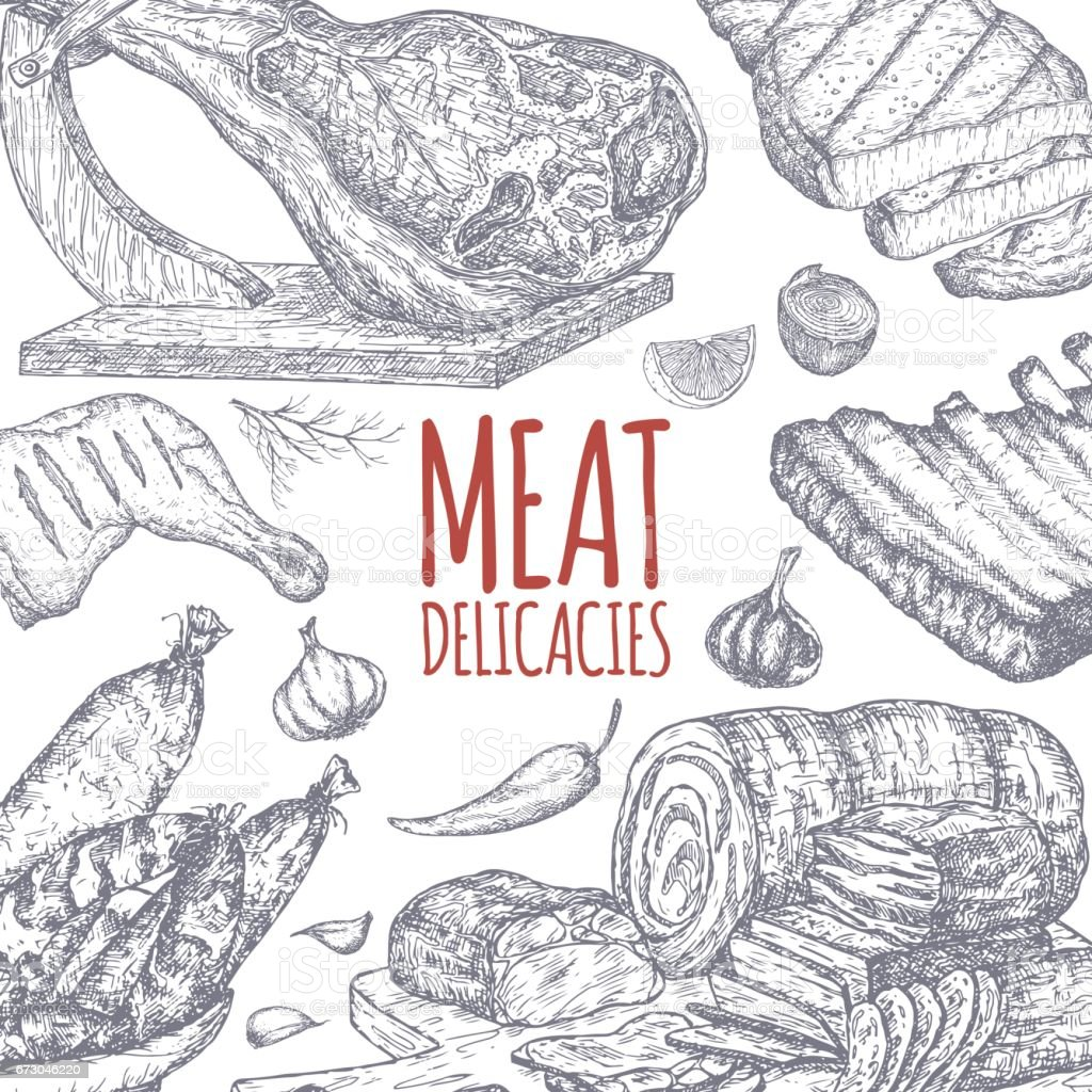 Meat delicacies tamplate based on hand drawn sketches. ベクターアートイラスト