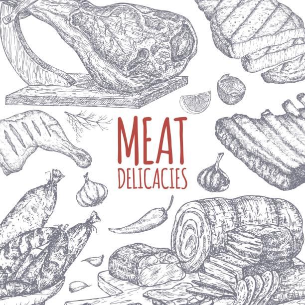 bildbanksillustrationer, clip art samt tecknat material och ikoner med köttdelikatesser tamplate bygger på handritade skisser. - fläsk biff kyckling