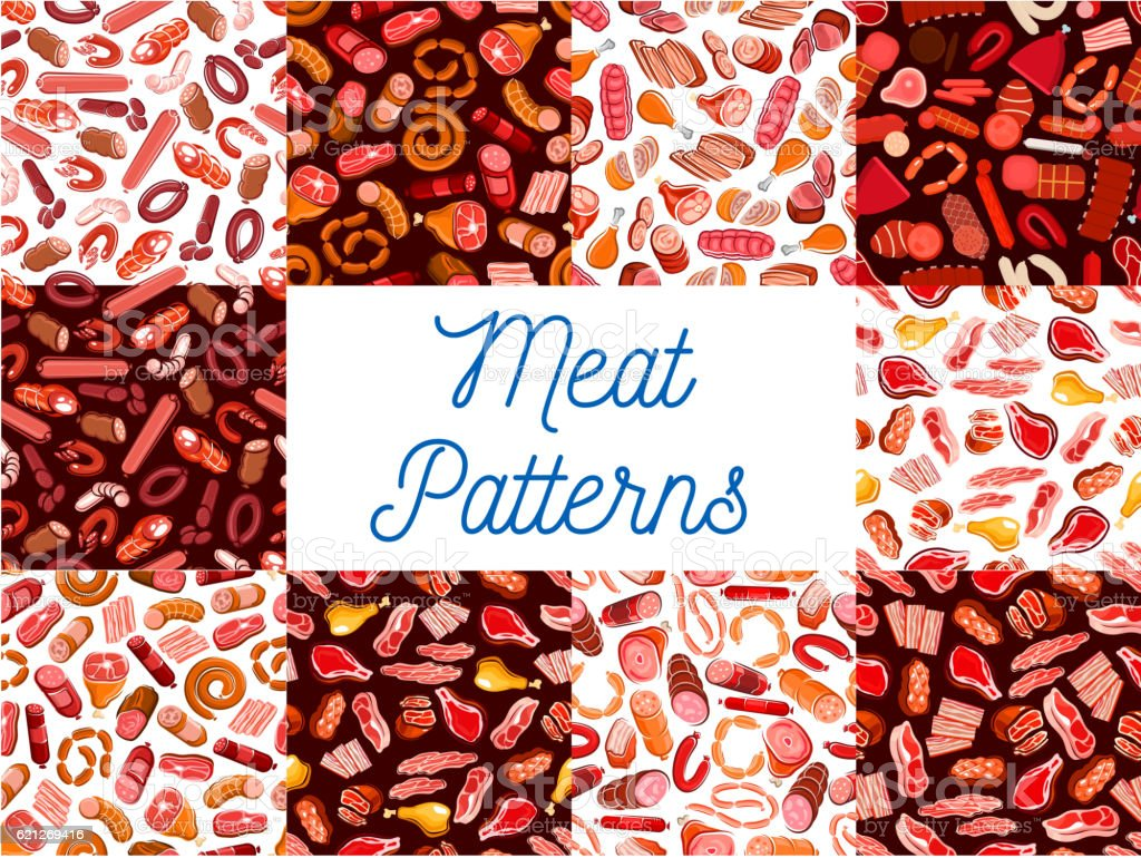 Meat delicatessen, sausages seamless patterns vector art illustration