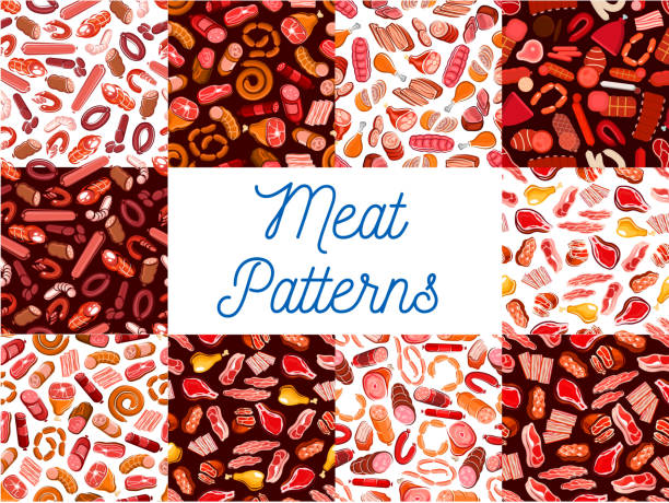 meat delicatessen, sausages seamless patterns - roastbeef stock-grafiken, -clipart, -cartoons und -symbole