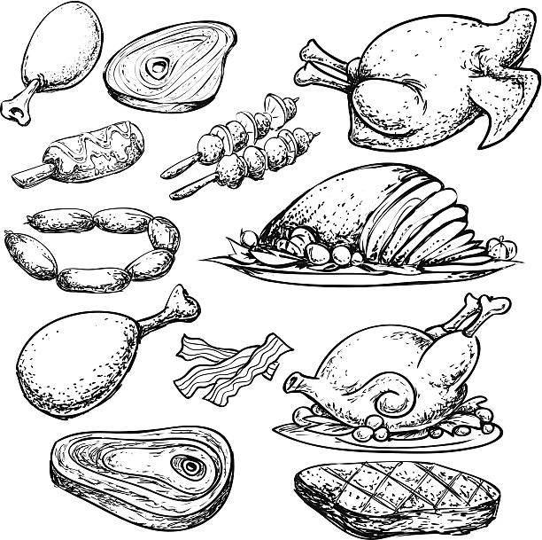ilustrações de stock, clip art, desenhos animados e ícones de carne sarrabisco - jantar assado