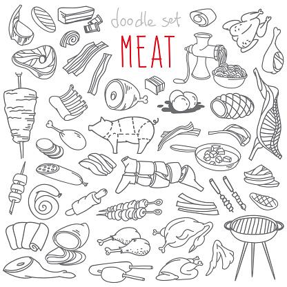 Meat doodles set.