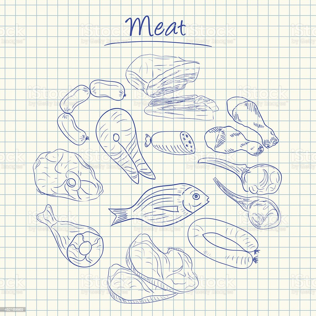 Meat doodles - squared paper royalty-free meat doodles squared paper stock vector art & more images of animal