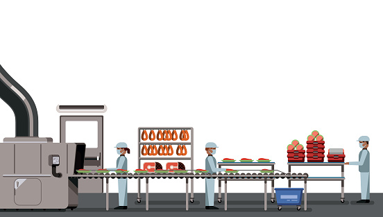 Meat factory with workers on white background, industrial equipment, interior of the factory, social distancing, food industry vector illustration