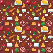 Meat fish dairy vegetable food pattern seamless background vector texture abstract. Chili pepper mushroom egg butter sausage bacon chicken leg veal salmon steak croissant. Patterns collection.