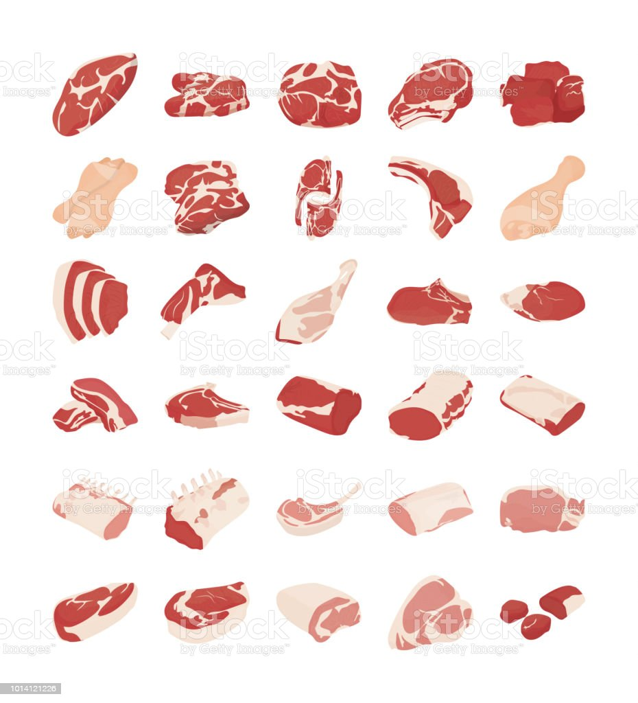 Meat Flat Vector Icons vector art illustration