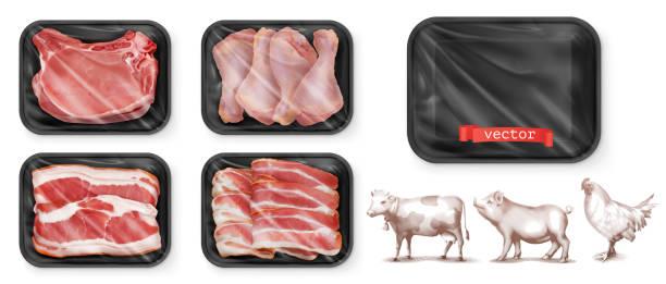 bildbanksillustrationer, clip art samt tecknat material och ikoner med kött mat. nötkött, fläsk, kyckling klubbor. svart polystyren förpackning. 3d-vektor realistisk uppsättning. hög kvalitet 50mb eps - kött