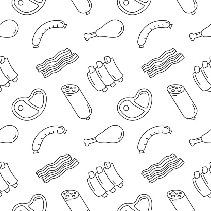 Meat Food Seamless Pattern Vector Background